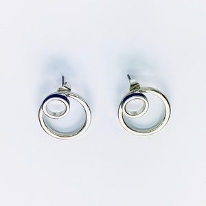 New! Silver Hoop Layered Studs Earrings